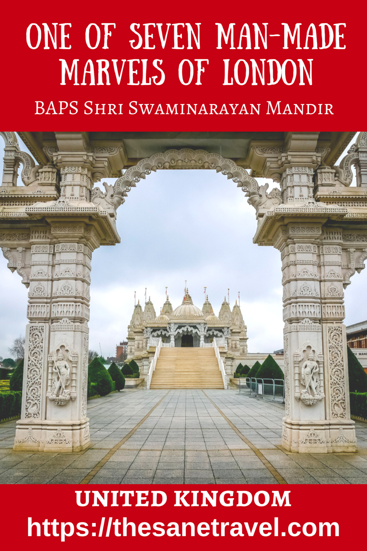 One of seven London's finest seven man-made marvels according Time Out London guide, BAPS Shri Swaminarayan Mandir – popularly known as the Neasden Temple – a Hindu Temple in Neasden nighbourhood of London. The magnificent marble structure is one the largest of its kind outside of India and it's well worth one hour travel from central London to see it. #NeasdenTemple #temple #travel #UKtravel #UK #architecturelovers #london #travelphotography #travelblog