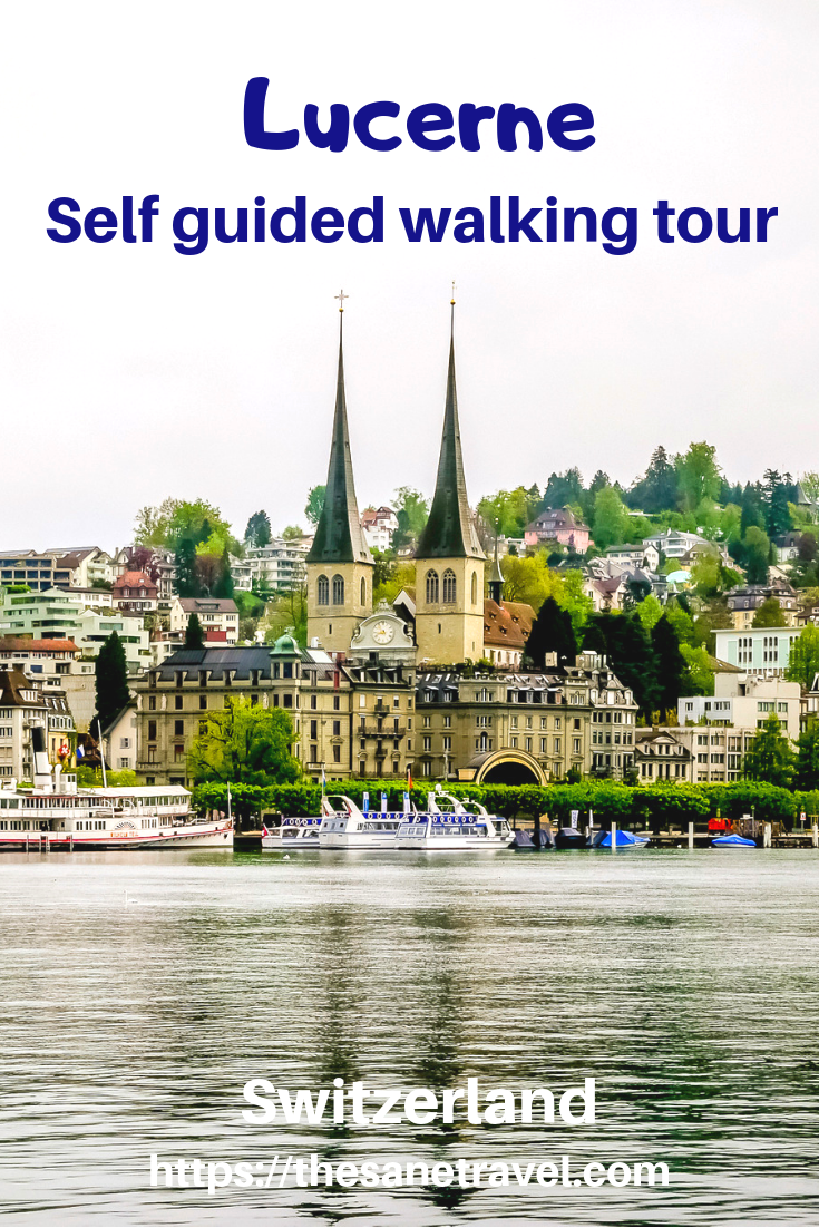 Lucerne in Switzerland also known by local German name as Luzern is a lively town. There are lots of things to do in Lucerne. With its location at the Lucerne lake city is an ideal starting point for boat trips or visiting nearby mountains. Want to explore Lucerne on your own?  Start your self-guided city walking tour from Lucerne train station! Here is how! #visitEurope #visitSwitzerland #visitLucerne #Luzern #travelblog #travelphotography #citywalk